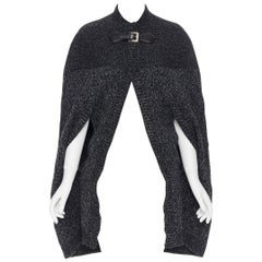 GUCCI 100% wool grey melange knitted leather buckle slit sleeves cape coat S