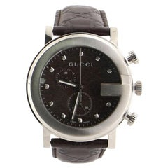 Gucci 101G Chronograph Quartz Watch Stainless Steel and Guccissima Leather