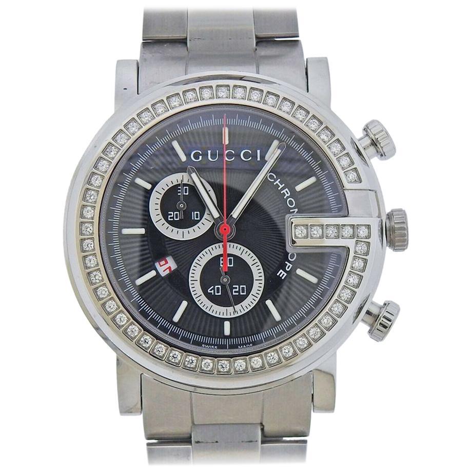 Gucci 101M Chronograph Chronoscope Diamond Watch YA101324