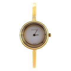 Gucci 1100 Interchangeable Bezel Bangle Quartz Watch Plated Metal
