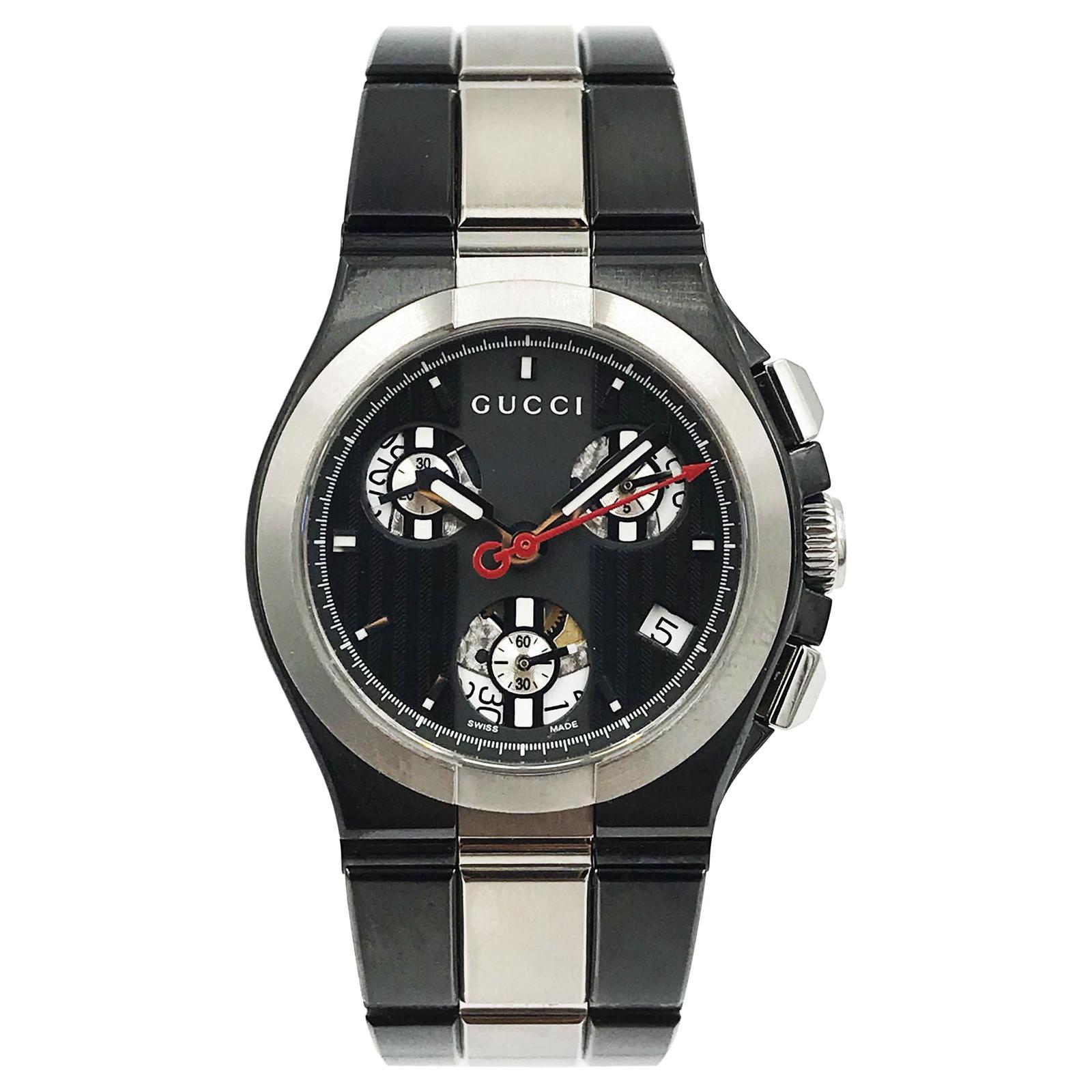 Gucci 124 YA124402 Titanium Black Chronograph Quartz Ladies Watch