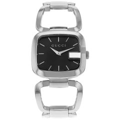 Gucci 125 Black Rectangle Black Dial Steel Quartz Ladies Watch YA125407