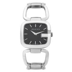 Gucci 125.4 Black Rectangle Black Dial Steel Quartz Ladies Watch YA125407