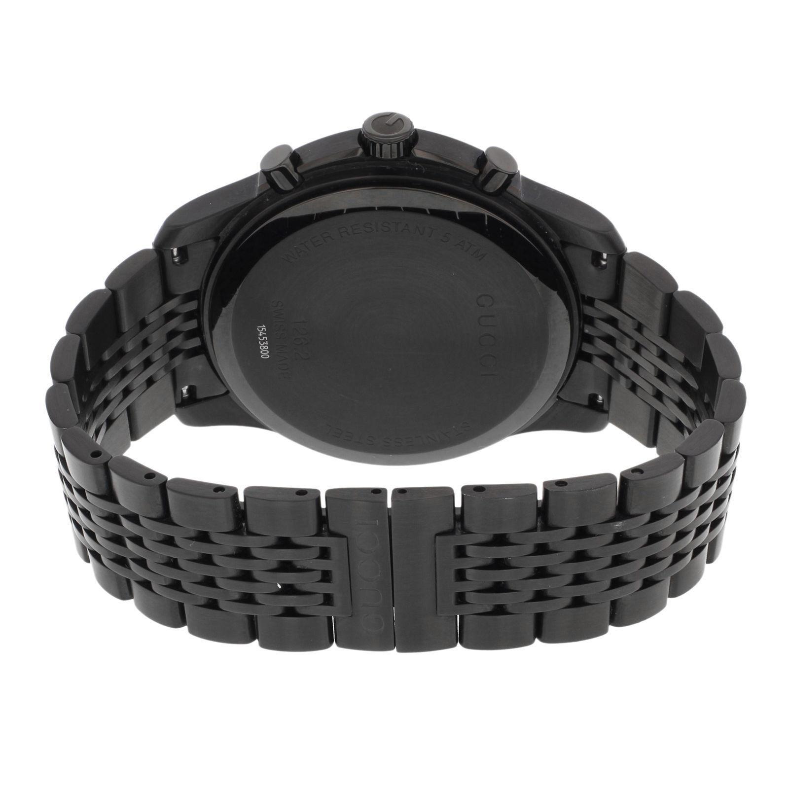 a3061abf180 Gucci 126 Black PVD Steel Chrono Tachymeter Quartz Men s Watch YA126217 For  Sale at 1stdibs