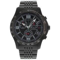 Gucci 126 Black PVD Steel Chrono Tachymeter Quartz Men's Watch YA126217