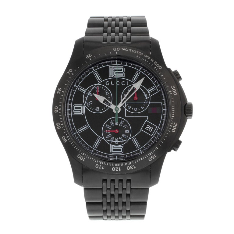 1575f1dee60 Gucci 126 Black PVD Steel Chrono Tachymeter Quartz Men s Watch YA126217 For  Sale