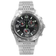 Gucci 126 Chrono Black Checkered Dial Stainless Steel Quartz Mens Watch YA126221