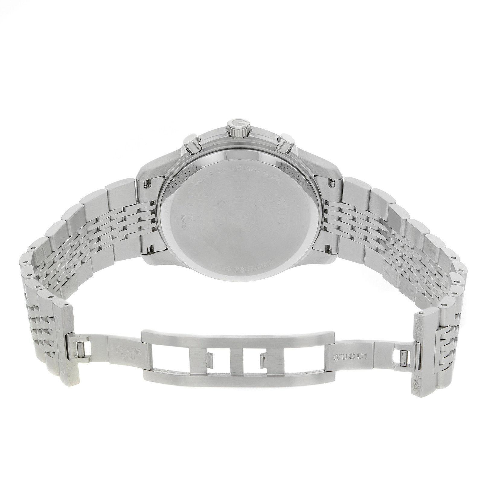 2d0081c59f4 Gucci 126 Chrono YA126221 Black Arabic Dial Stainless Steel Quartz Men s  Watch For Sale at 1stdibs