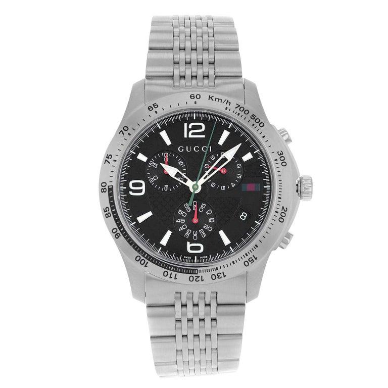 9f712bfb199 Gucci 126 Chrono YA126221 Black Arabic Dial Stainless Steel Quartz Men s  Watch For Sale