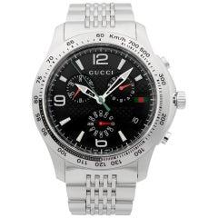 Gucci 126 Chronograph Stainless Steel Black Dial Quartz Men's Watch YA126221