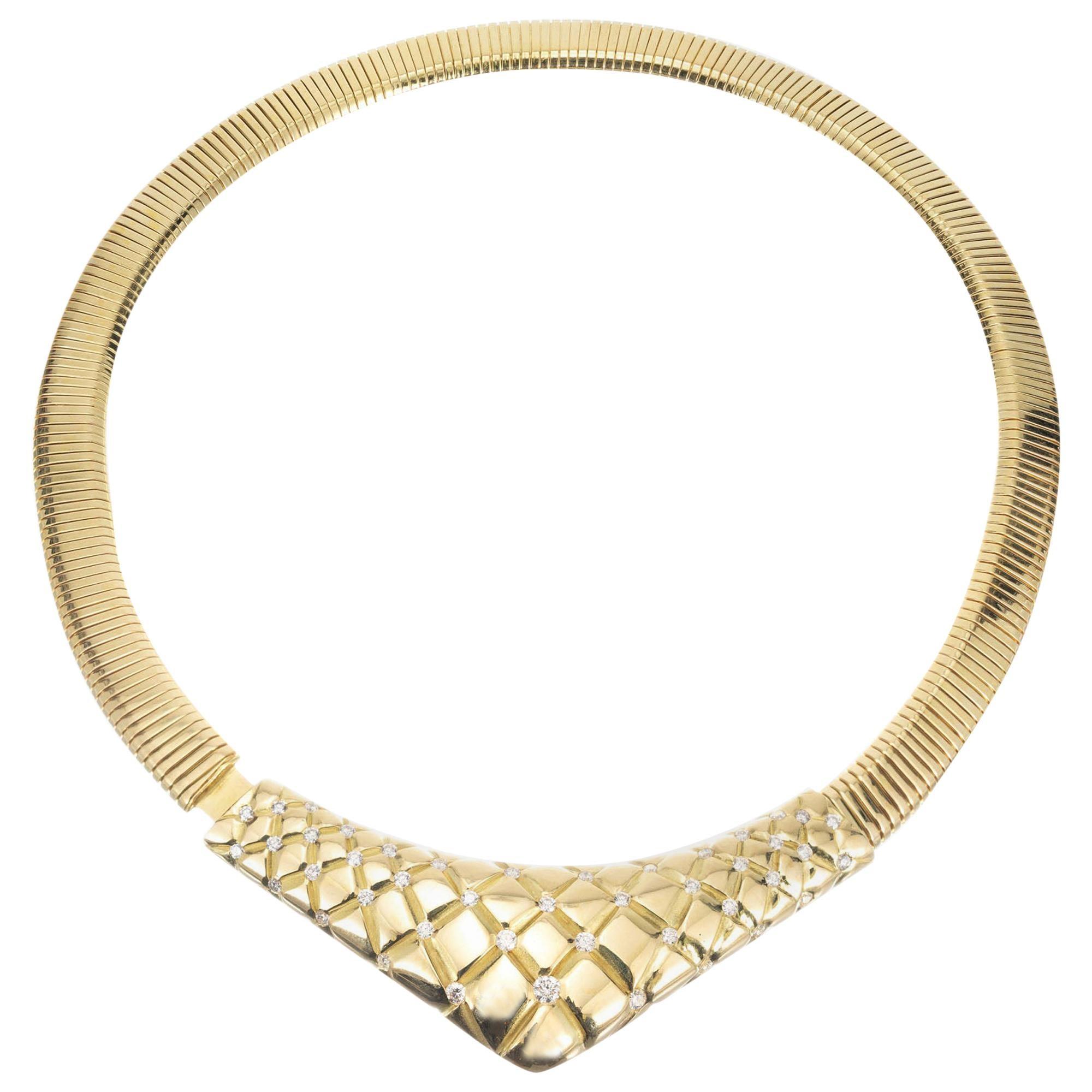 Gucci 1.45 Carat Diamond Yellow Gold Accordion Necklace