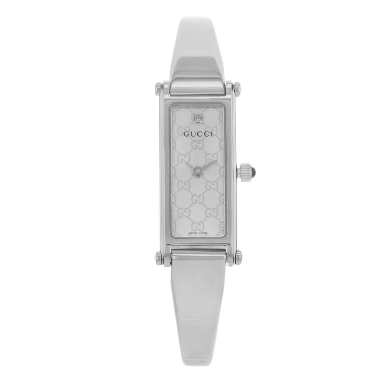 aed9a88e13d Gucci 1500L YA015563 Silver Rectangle Dial Stainless Steel Quartz Ladies  Watch For Sale