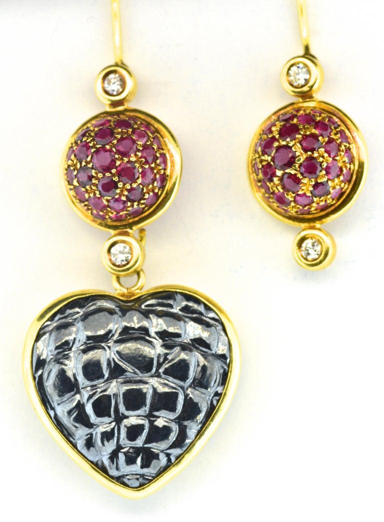 Modern Gucci 18 Karat, Diamond and Ruby Earrings For Sale
