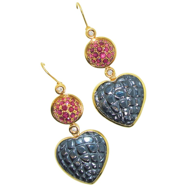 Gucci 18 Karat, Diamond and Ruby Earrings In Excellent Condition For Sale In Aspen, CO