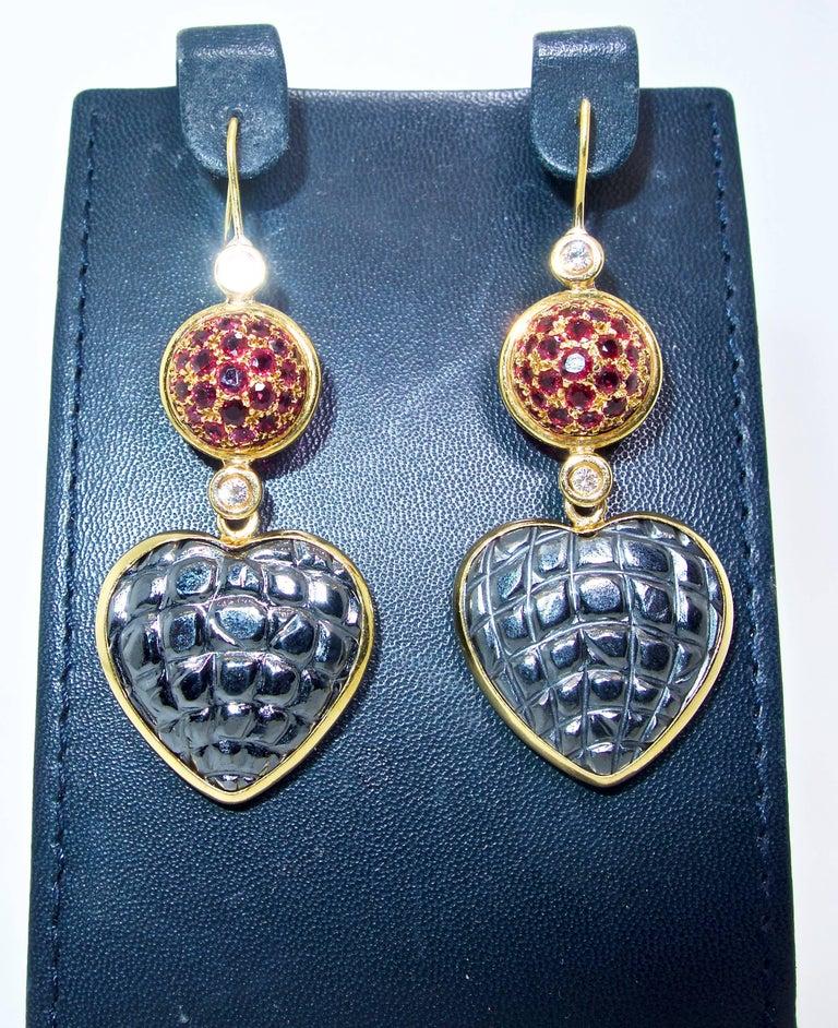 Women's or Men's Gucci 18 Karat, Diamond and Ruby Earrings For Sale