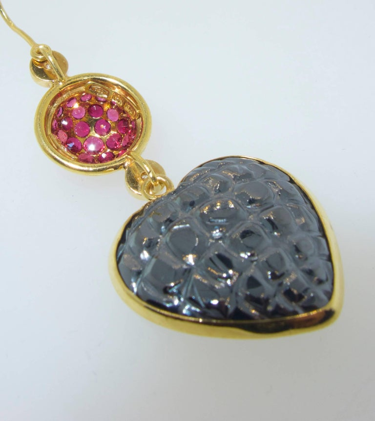 Gucci 18 Karat, Diamond and Ruby Earrings For Sale 1