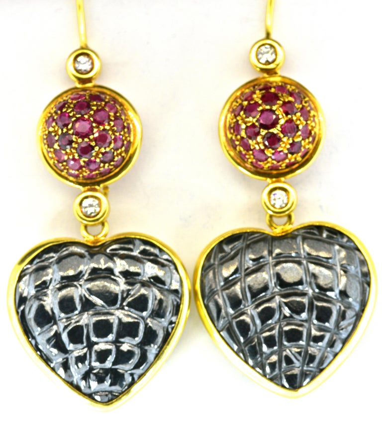 Gucci 18 Karat, Diamond and Ruby Earrings For Sale 3