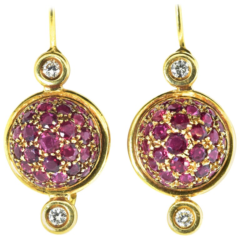 Gucci 18 Karat, Diamond and Ruby Earrings For Sale