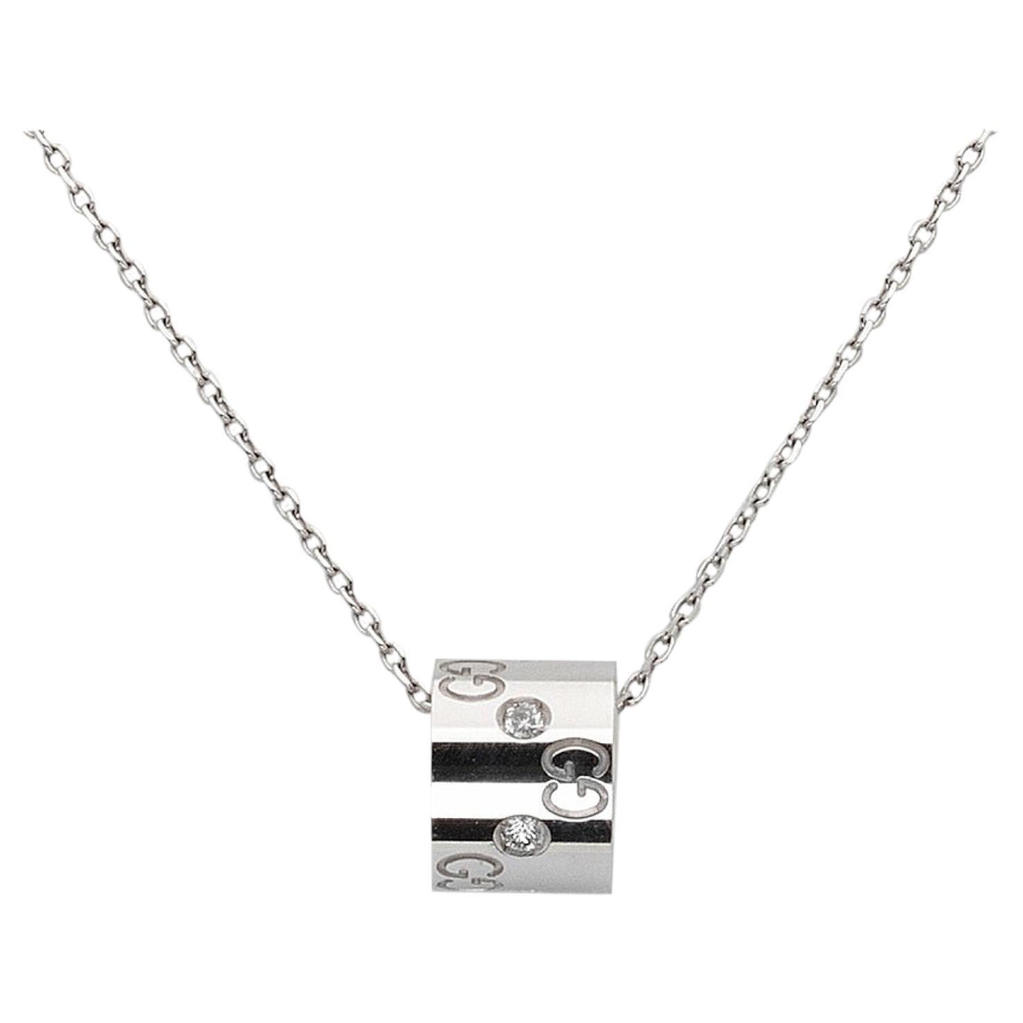 Gucci 18 Karat White Gold Diamond Icon Ring Pendant Necklace