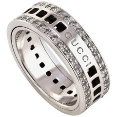 Gucci 18 Karat White Gold Spinning Ring with Diamonds