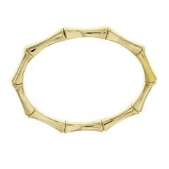 Gucci 18 Karat Yellow Gold Bamboo Stretch Bangle Bracelet