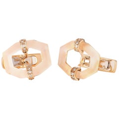 Gucci 18 Karat Yellow Gold Diamond and Crystal Cufflinks