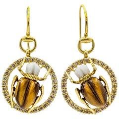 Gucci 18 Karat Yellow Gold Diamond Tiger's Eye Agate Scarab Dangle Earrings