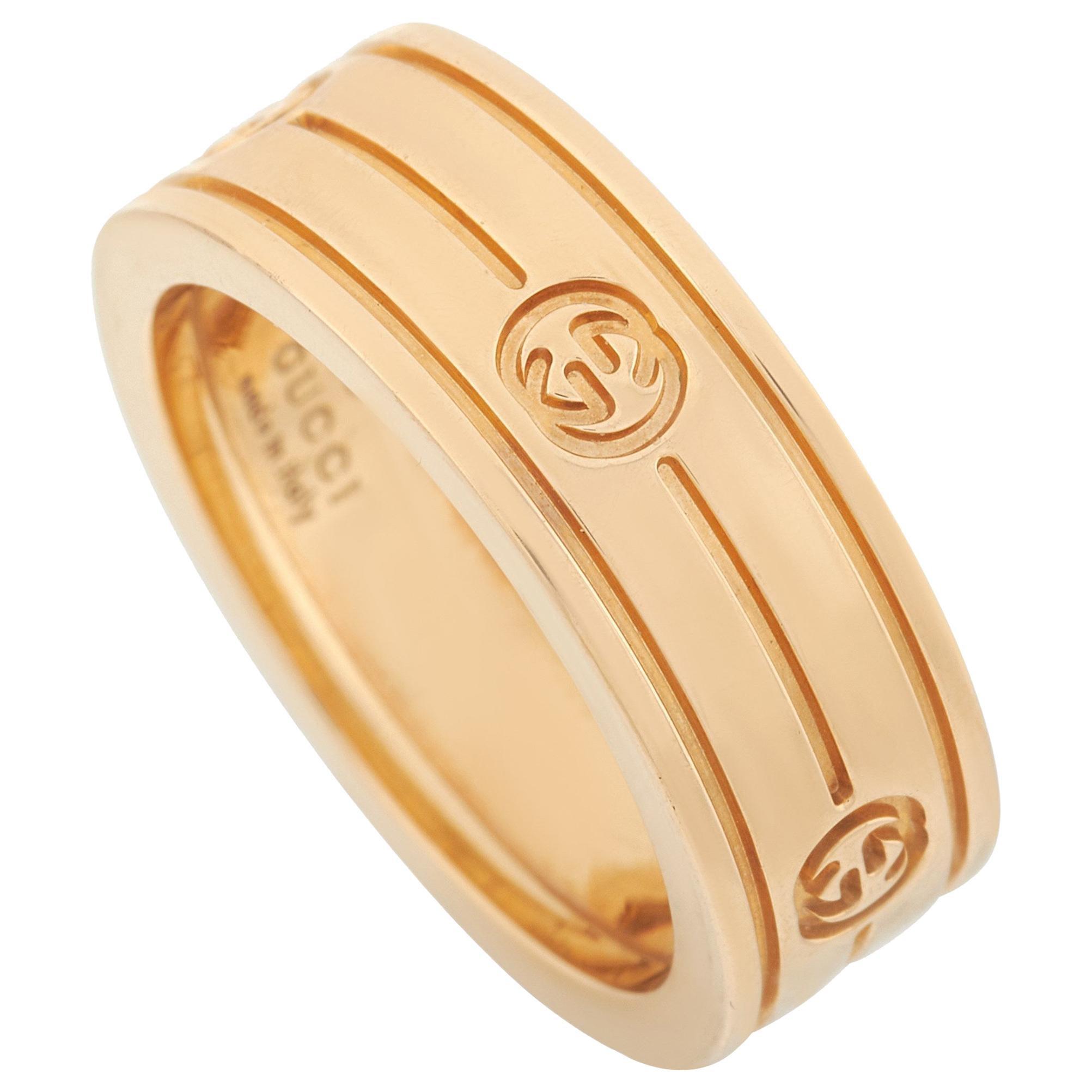 Gucci 18 Karat Yellow Gold Interlocking G Band Ring