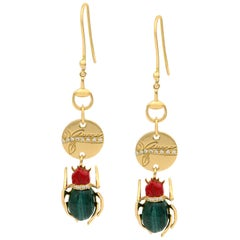 Gucci 18 Karat Yellow Gold Scarab Malachite Diamond Ladies Earrings 0.15 Carat