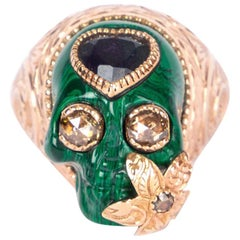 GUCCI 18ct Rose Gold & Sapphire SKULL Ring w Heart Sz 6