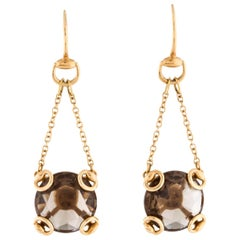 Gucci 18K Gold Chain Link Smoky Quartz Charm Dangle Drop Evening Earrings in Box