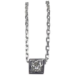 GUCCI 18k White Gold Diamond Square Princess Cut Pendant Necklace Made in Italy