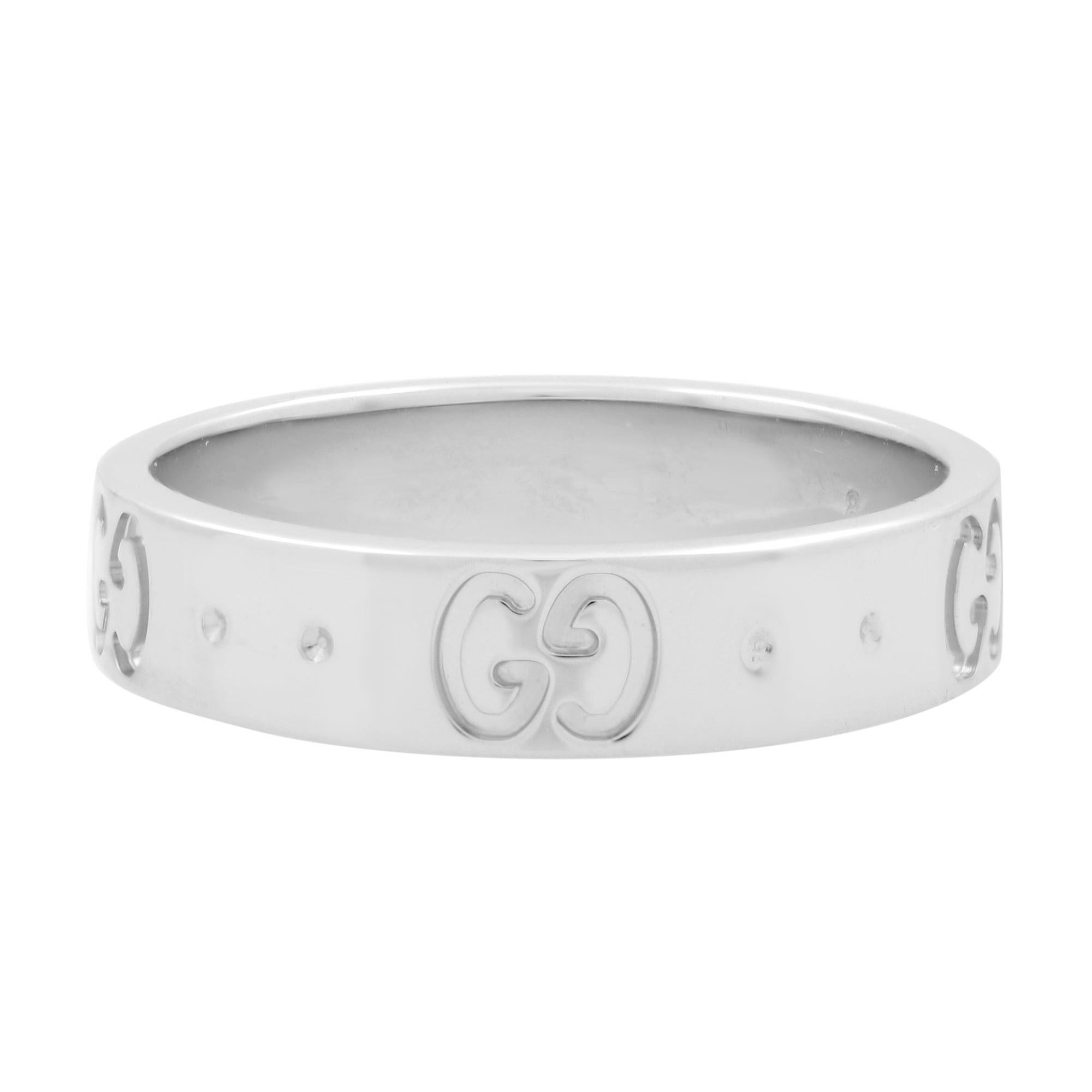 Gucci 18K White Gold Icon GG Thin Band Ring