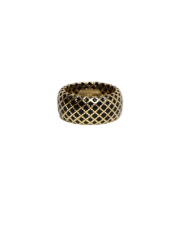 Gucci 18K Yellow Gold/Black Enamel Diamantissima Ring sz 7.5 rt $995 In Excellent Condition For Sale In New York, NY