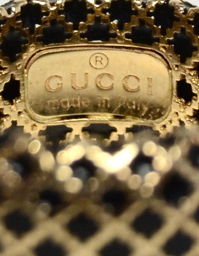 Women's or Men's Gucci 18K Yellow Gold/Black Enamel Diamantissima Ring sz 7.5 rt $995 For Sale