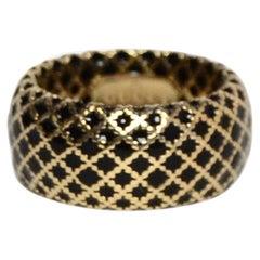 Gucci 18K Yellow Gold/Black Enamel Diamantissima Ring sz 7.5 rt $995