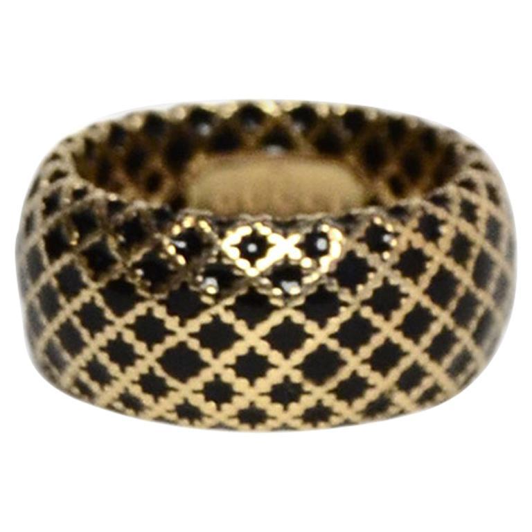 Gucci 18K Yellow Gold/Black Enamel Diamantissima Ring sz 7.5 rt $995 For Sale