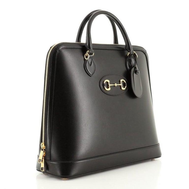 Black Gucci 1955 Horsebit Duffle Bag Leather Large For Sale