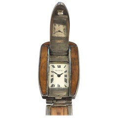 Gucci 1960s Sterling and Wood Hidded Wristwatch