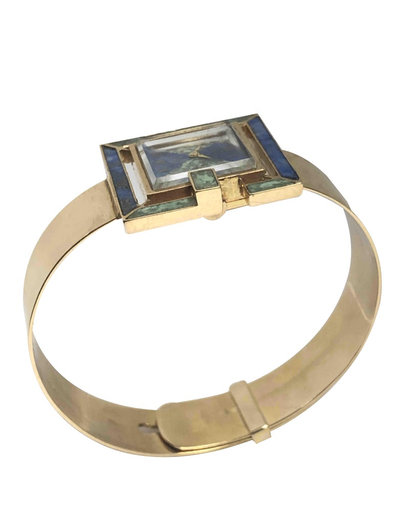 Gucci 1960s Yellow Gold and Stone Set Ladies Bangle Bracelet Watch In Excellent Condition For Sale In Chicago, IL