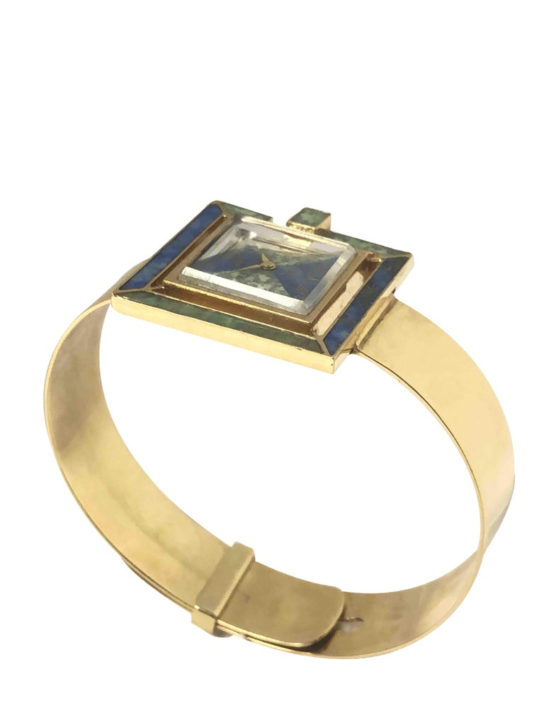 Women's or Men's Gucci 1960s Yellow Gold and Stone Set Ladies Bangle Bracelet Watch For Sale