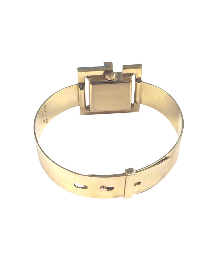 Gucci 1960s Yellow Gold and Stone Set Ladies Bangle Bracelet Watch For Sale 1