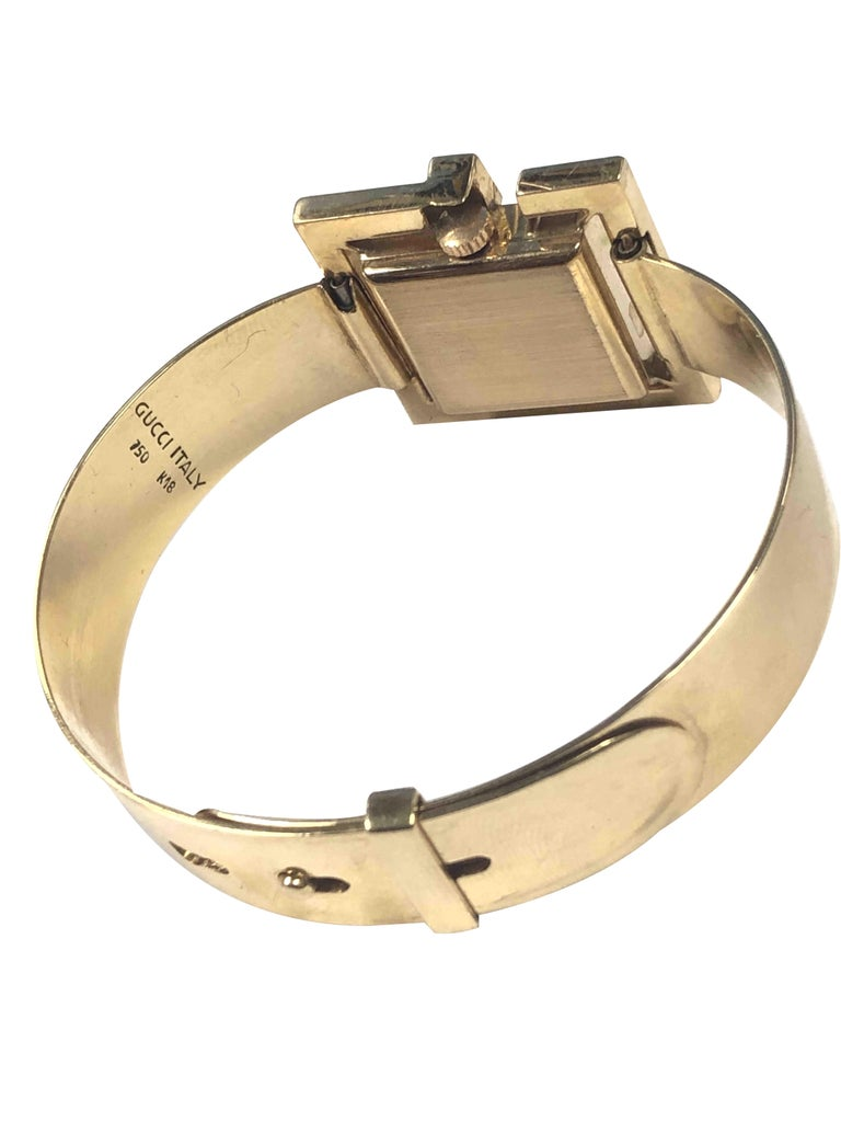 Gucci 1960s Yellow Gold and Stone Set Ladies Bangle Bracelet Watch For Sale 2