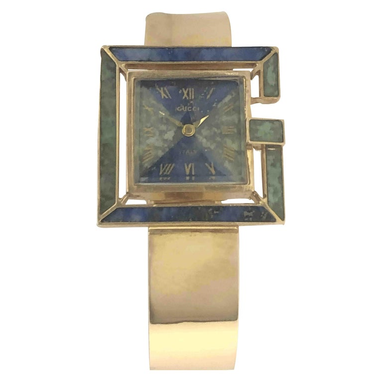 Gucci 1960s Yellow Gold and Stone Set Ladies Bangle Bracelet Watch For Sale