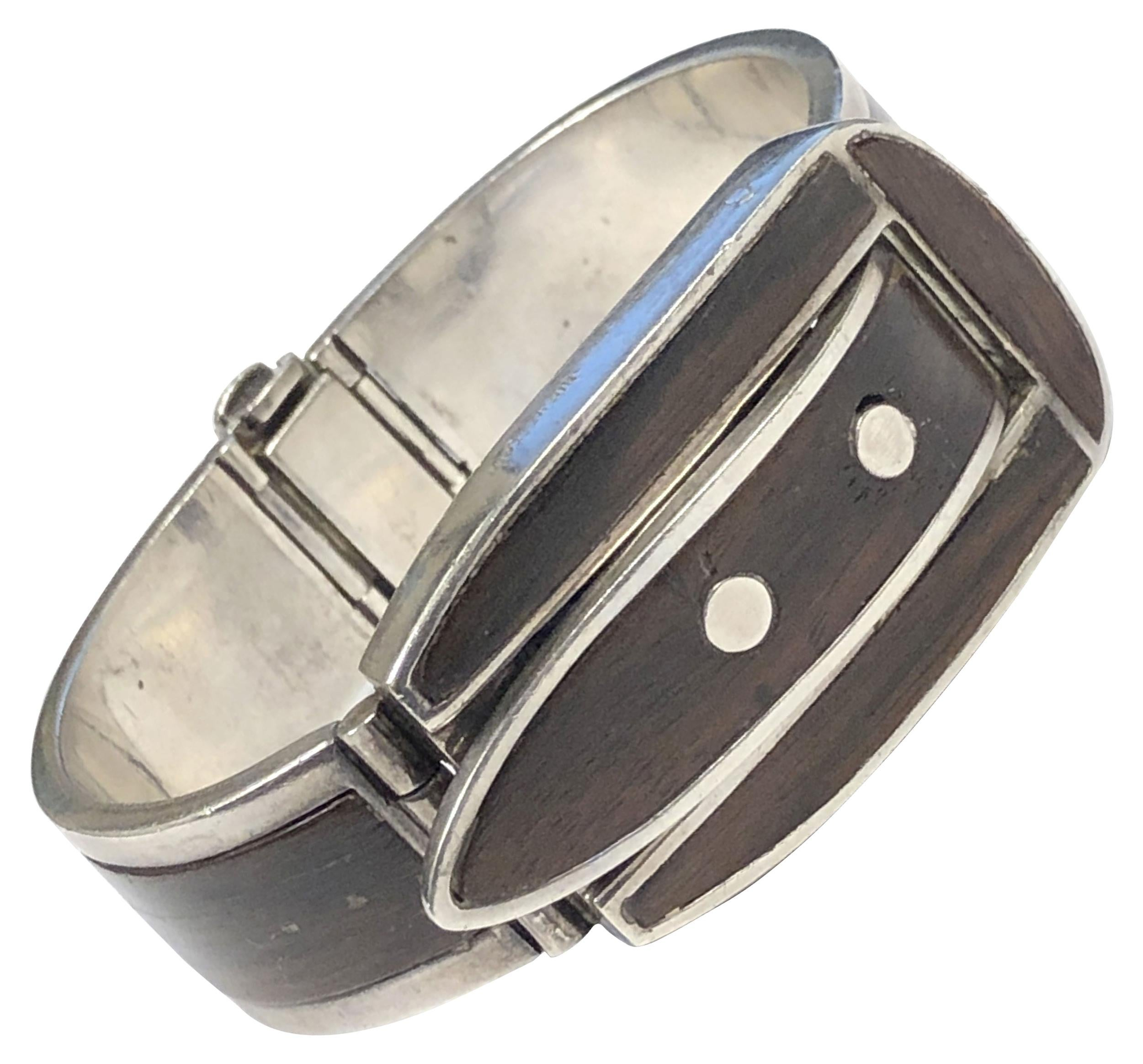 Gucci 1970 Sterling Silver and Wood Buckle form Bracelet with Hidden Wrist Watch