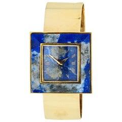 Gucci 1970s 18 Karat Yellow Gold Blue Lapis Square Dial Vintage Watch