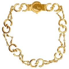 Gucci 1970s Gold Logo Chain Belt