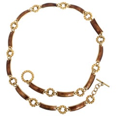 Gucci 1970's Gold Tone with Bronze Enamel Chain Link Belt