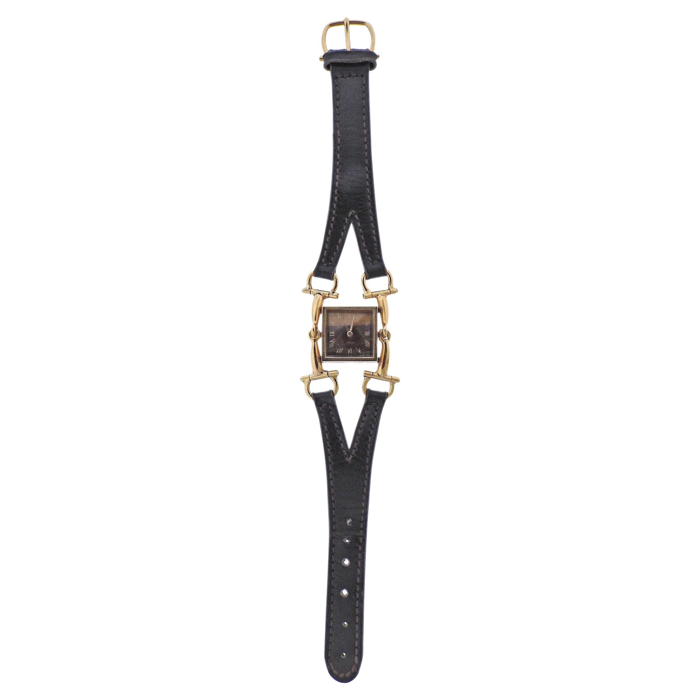 Gucci 1970s Horsebit Gold Tiger's Eye Lady's Watch