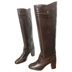 Gucci 1970s Size 8.5 Chocolate Brown Leather Knee High Heel Vintage 70s Boots